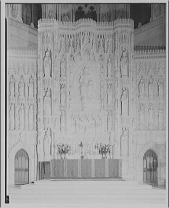 National Cathedral interiors. Main altar in sanctuary of National Cathedral