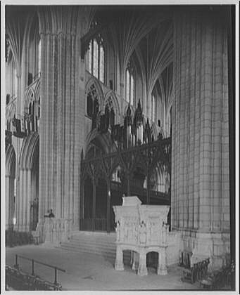 National Cathedral interiors. Pulpit and rood screen in National Cathedral I
