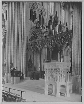 National Cathedral interiors. Pulpit, rood screen and lectern in National Cathedral