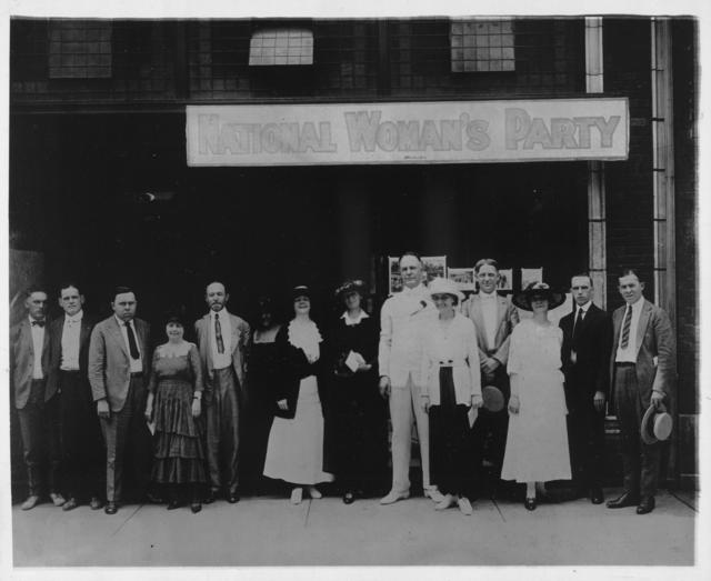 National Woman's Party Headquarters in Nashville, Tenn., in which the campaign for ratification of the suffrage amendment is being conducted, photographed on the day that Parley P. Christensen, presidential nominee for the new Farmer-Labor Party addressed a mass meeting, urging immediate ratification. Left to right: Rankin Smith, Central Trades and Labor Council; Jim F. Nicholson, Business Manager of the Machinist; W.C. Birthright, Secretary of the Tenn. Federation of Labor; Mrs. Anne Calvert Neely, Mississippi state chairman of the National Woman's Party; W.M. Mitchell; Mrs. Mabel Reber, of New York; Mrs. Walter C. Jackson of Murfreesboro; Mrs. Florence Bayard Hilles, of Wilmington, Delaware, member of the Executive Committee of the Woman's Party; Parley P. Christensen, Presidential candidate of the Farmer-Labor Party; Miss Sue White, of Nashville, Tennessee state chairman of the Woman's Party; W.M. Fox, president of the Trades and Labor Council; Miss Mary Winsor of Philadelphia, Pa., member of the Advisory Council of the Woman's Party; Archie Craig; Charles P. Sweeney.