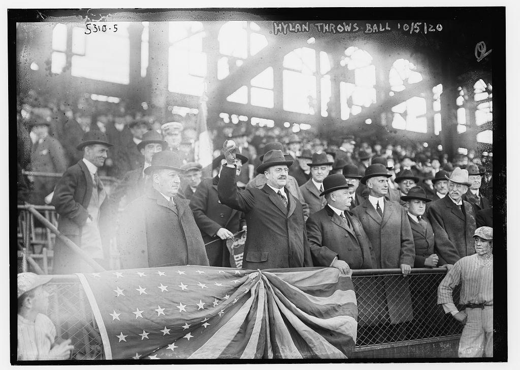 [New York City Mayor John Hylan throws ball to open World Series at Ebbets Field (baseball)]