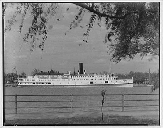 Norfolk & Washington Steamboat Co. View of District of Columbia steamship under willow tree I