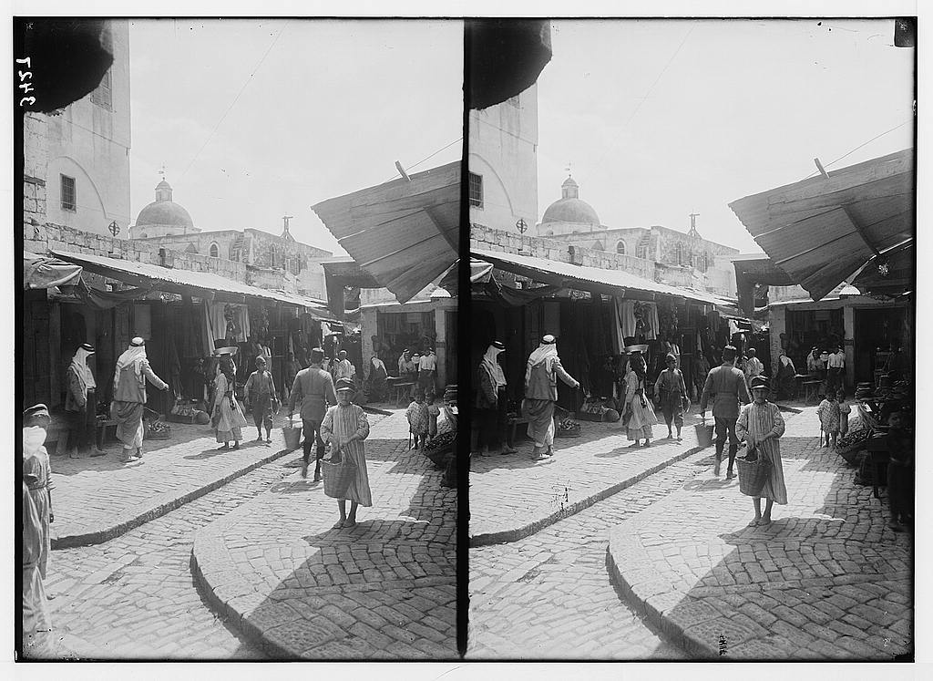 Northern views. Nazareth. The old bazaars. Showing dome of Mensa Christi