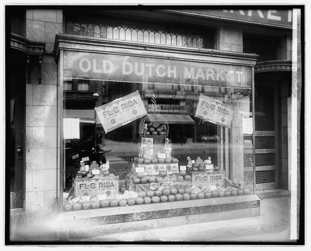 Old Dutch Mkt. Co. window, 906 G St., N.W., [Washington, D.C.]