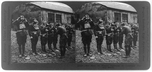 Our boys in France learning to correctly use gas masks