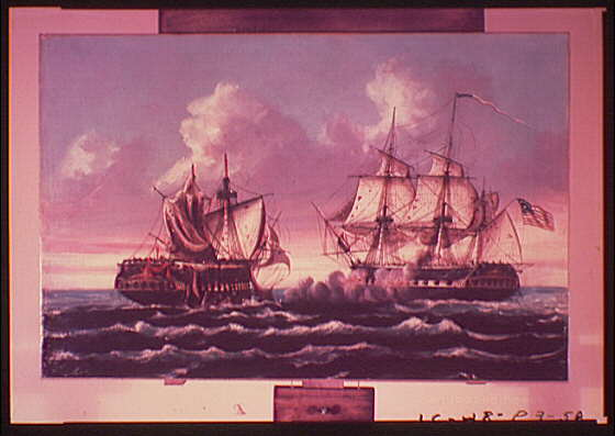 Paintings. U.S. Navy ship Constitution (Old Ironside) during battle with H.M.S. Guerriere II