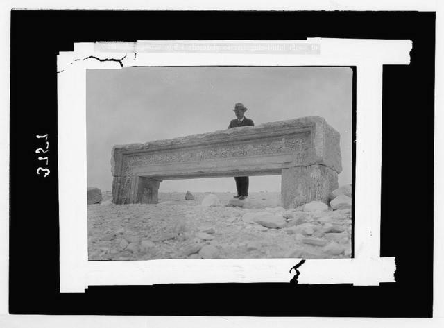 Palmyra. Desert. Qasr el Heir. Elaborately carved gate lintel