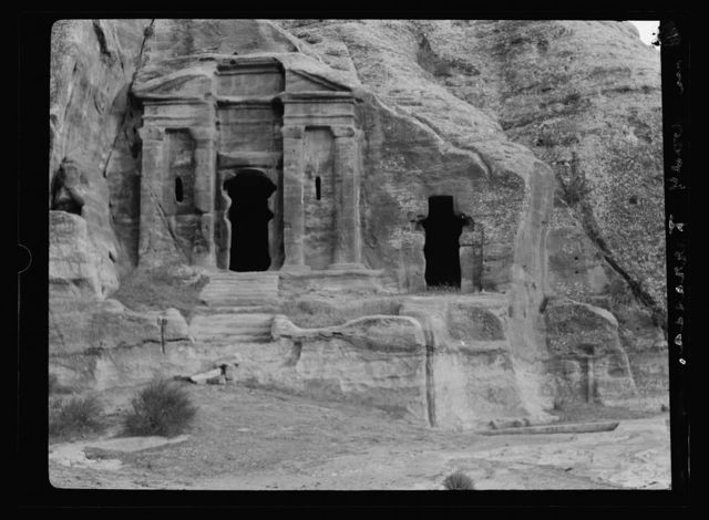 Petra. El-Farasah & obelisk ridge area. Classical monument, Wadi Farasah, showing rock cut channels and pool for collecting water