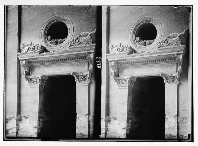 Petra (Wadi Musa). El-Khazneh. Consoled cornice, lintel and supporting pilasters of south side doorway