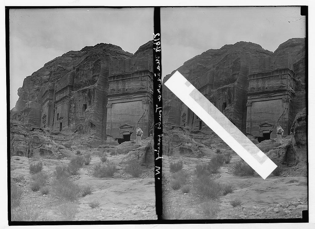 Petra (Wadi Musa). El-M'esrah area. Petra. Nabatean corniced tombs with pedimented doorways on el-M'esrah. Note unusual monument with window