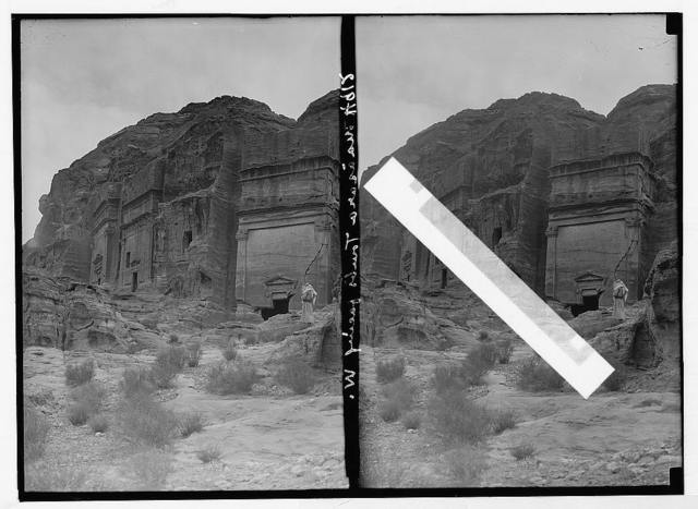Petra (Wadi Musa). El-M'esrah area. Petra. Nabatean corniced tombs with pedimented doorways on el-M'esrah. Note unusual monument with window