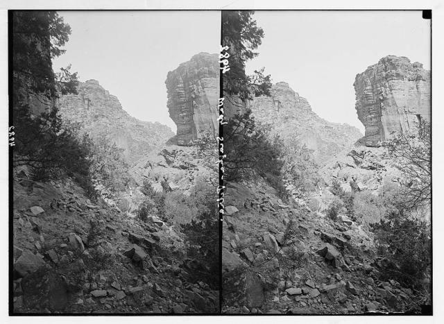 Petra (Wadi Musa). Es-Siyyagh Valley. Perpendicular cliffs. Looking toward the Araba
