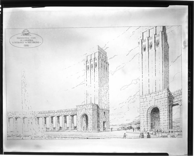 Plans for proposed building projects in Washington, D.C. Perspective view of concourse and entrance to Key Bridge, 1928