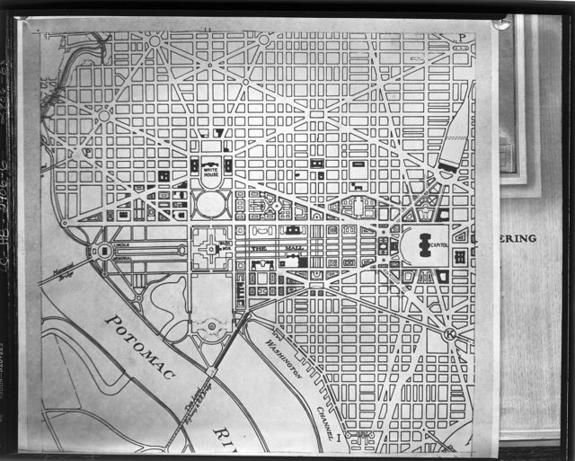 Plans for proposed building projects in Washington, D.C. Plan of the Mall area