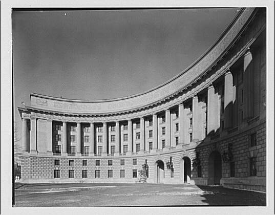 Post Office Department Building. Exterior view of curving facade of Post Office Department Building
