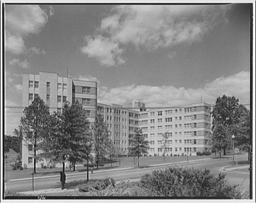 Potomac Electric Power Co. apartments and kitchens. Marlyn Apartments entrance, side view