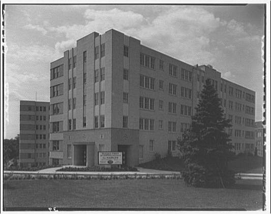 Potomac Electric Power Co. apartments and kitchens. Marlyn Apartments, entrance