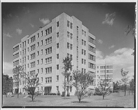 Potomac Electric Power Co. apartments and kitchens. Marlyn Apartments, rear view