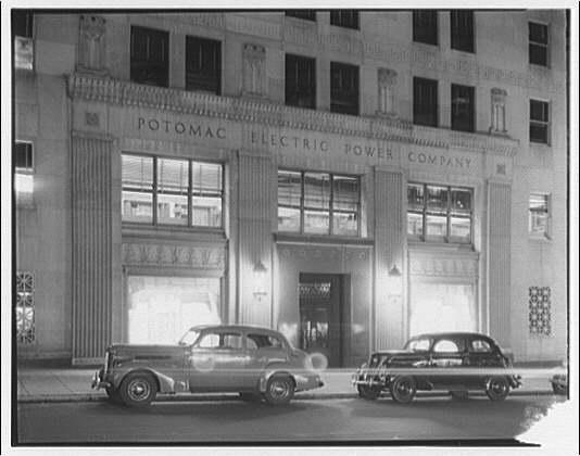 Potomac Electric Power Co. Building. Front entrance of Potomac Electric Power Co. at night II