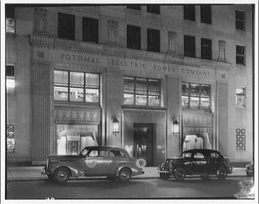 Potomac Electric Power Co. Building. Front entrance of Potomac Electric Power Co. at night I
