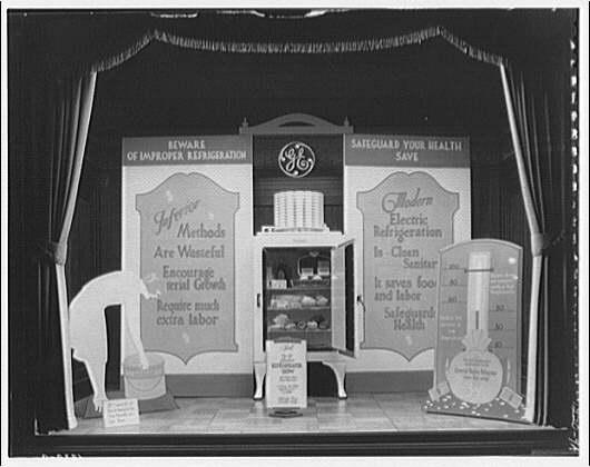 Potomac Electric Power Co. Building. Model home window display, G.E. refrigerator I