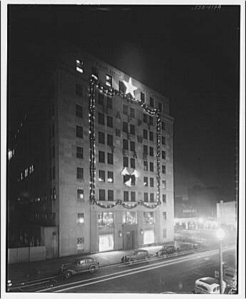 Potomac Electric Power Co. Building. Night exterior of Potomac Electric Power Co. with Christmas decorations I