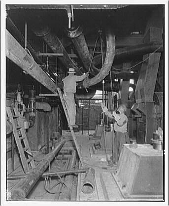 Potomac Electric Power Co. Buzzard Point plant. Construction work inside Buzzard Point plant IX