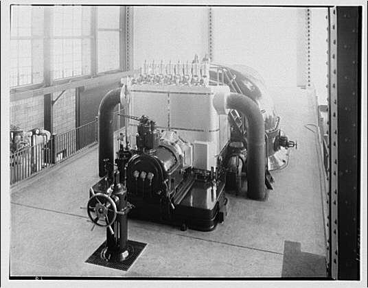 Potomac Electric Power Co. Buzzard Point plant. Second turbine nearing completion at Buzzard Point plant III