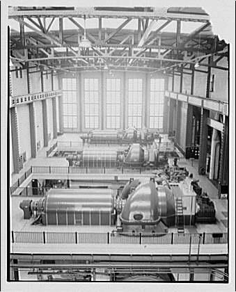 Potomac Electric Power Co. Buzzard Point plant. Three 50,000 kilowatt turbines from crane, Buzzard Point plant