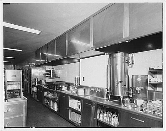 Potomac Electric Power Co. commercial kitchens, restaurants and lighting. Mayflower Hotel kitchen and dining room in coffee shop III