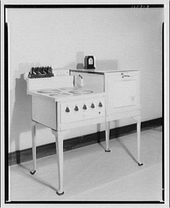 Potomac Electric Power Co. electric appliances. Electric range on tall legs