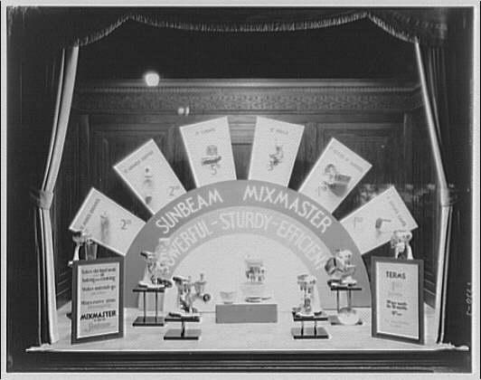 Potomac Electric Power Co. electric appliances. Window display with Sunbeam mixmasters II