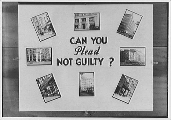 Potomac Electric Power Co. old electric appliances. Poster with images of building fronts and caption Can you plead not guilty?