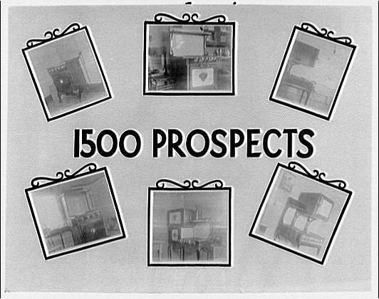 Potomac Electric Power Co. old electric appliances. Six small pictures of old electric appliances, with caption: 1500 prospects