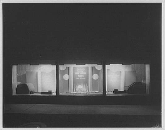 Potomac Electric Power Co. substations. Substation on Wisconsin Ave. window display: Home heating plants