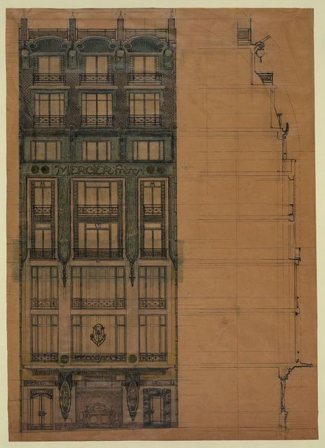 [Project for a store façade (Mercier Frères). Elevation and section]