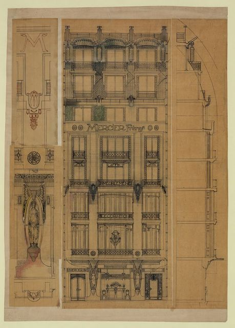 [Project for a store façade (Mercier Frères). Elevation, section, and details]