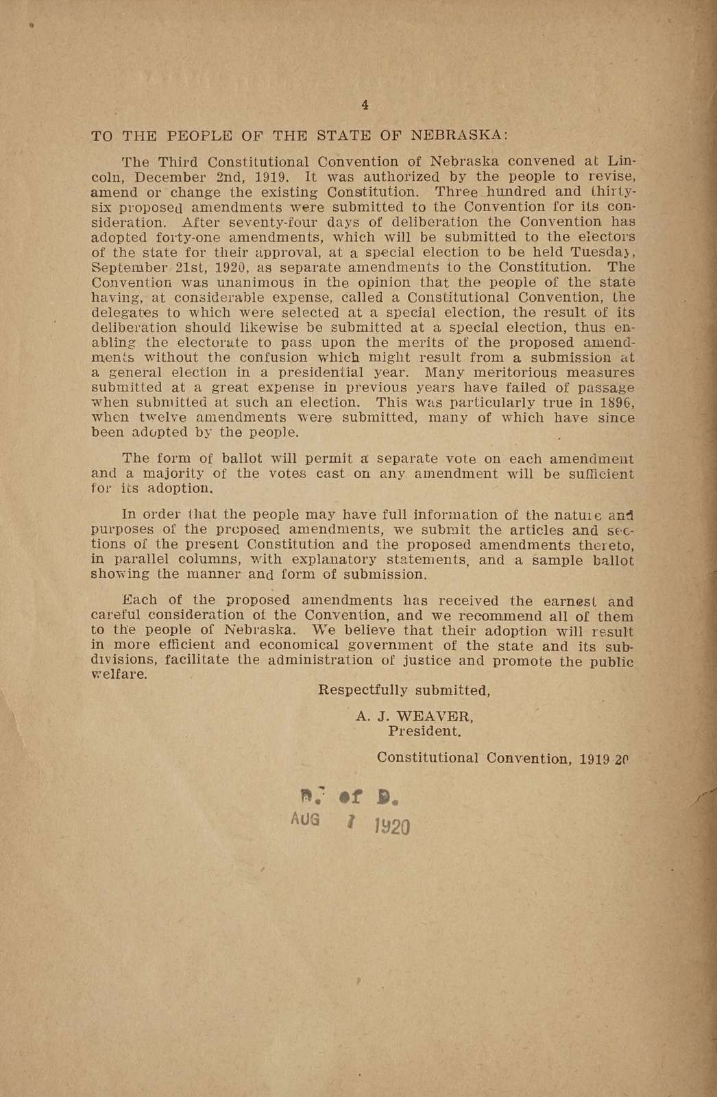 Proposed amendments to the constitution of the state of Nebraska as adopted by the Constitutional convention 1919-20, with explanatory statements and sample ballot