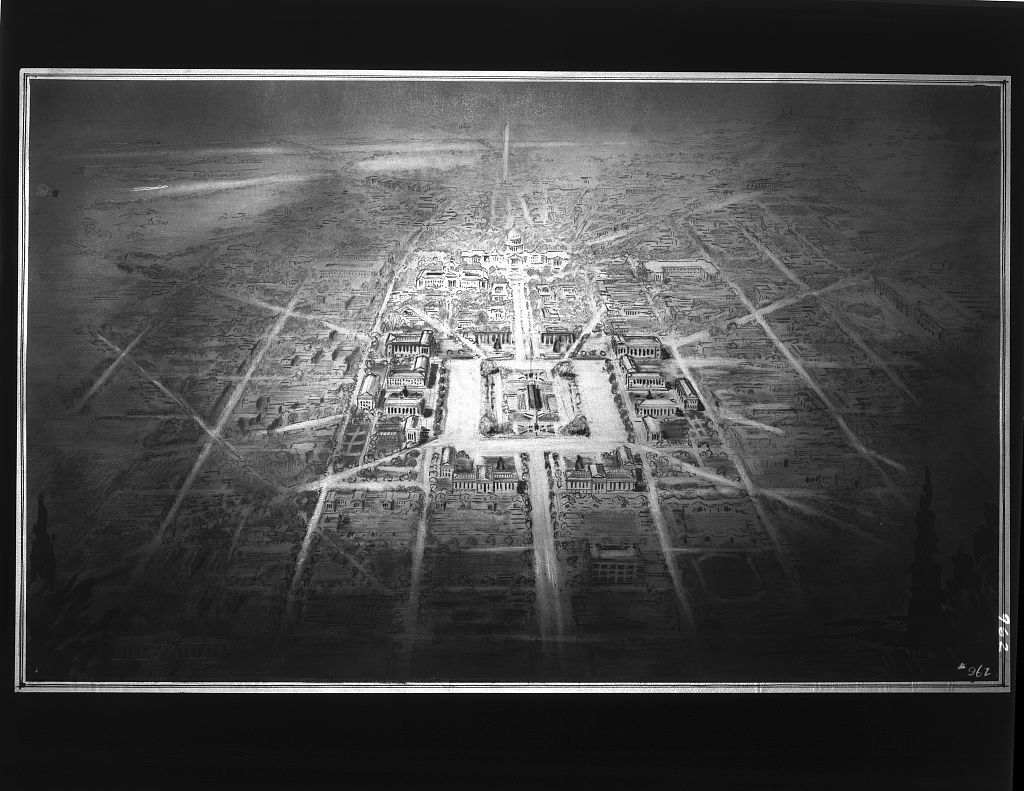 Proposed drawing for Independence Square, Washington Memorial and grounds from model. Drawing for Independence Square I