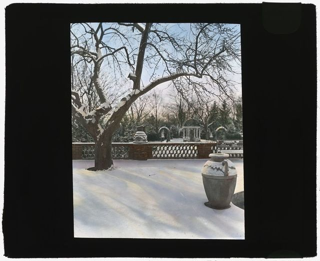 "[""Quiet Corner,"" John Wesley Baxter house, Dublin and Hill Roads, Greenwich, Connecticut. View from terrace in winter]"