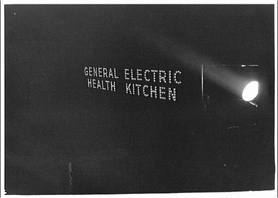 Railroads. 42nd St. Station, General Electric Health Kitchen train sign
