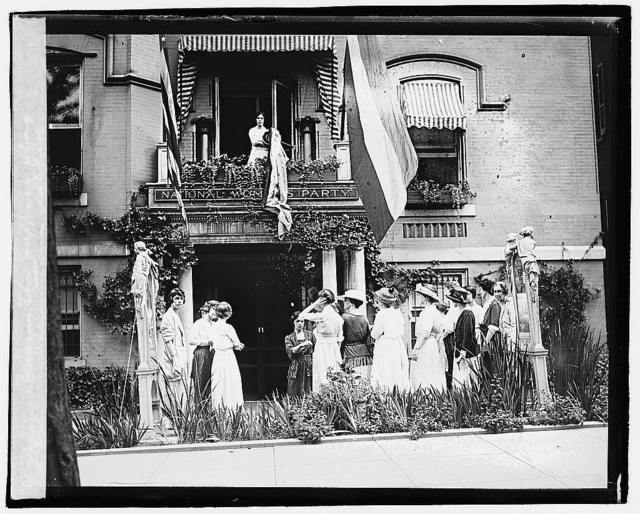 Raising the Suffrage flag when terms ratified