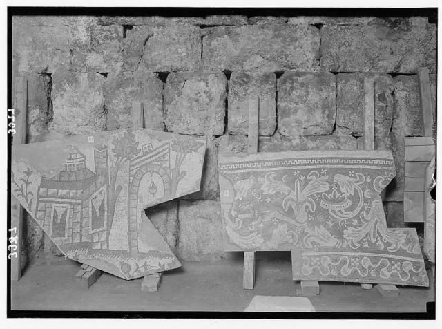 Ruins of Jerash (Gerasa). Jerash mosaic. Section representing buildings.