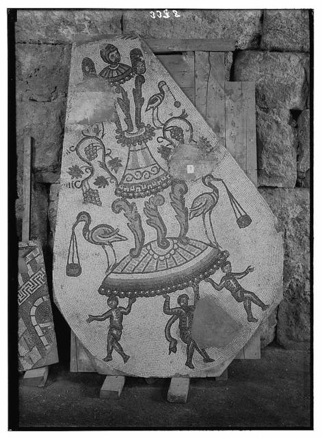 Ruins of Jerash (Gerasa). Jerash mosaic. Section showing cupids, storks, etc.