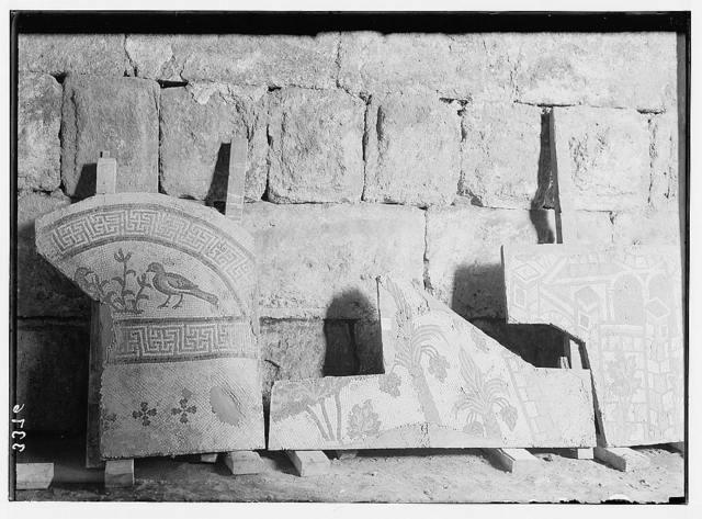 Ruins of Jerash (Gerasa). Jerash mosaic. Section showing fruiting palm trees and birds.