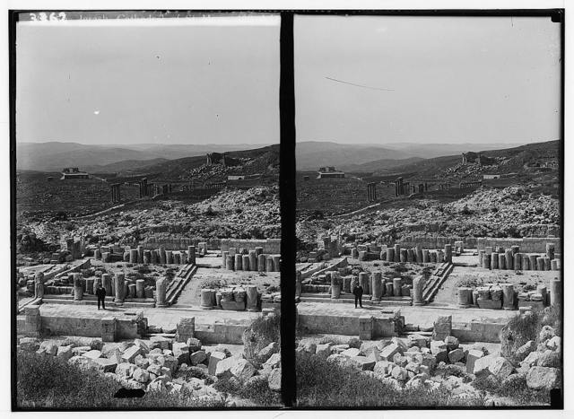 Ruins of Jerash (Gerasa). The cathedral ruins. Showing main avenue and the forum.
