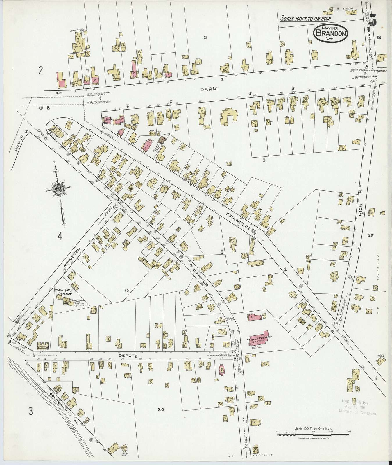 Sanborn Fire Insurance Map from Brandon, Rutland County, Vermont