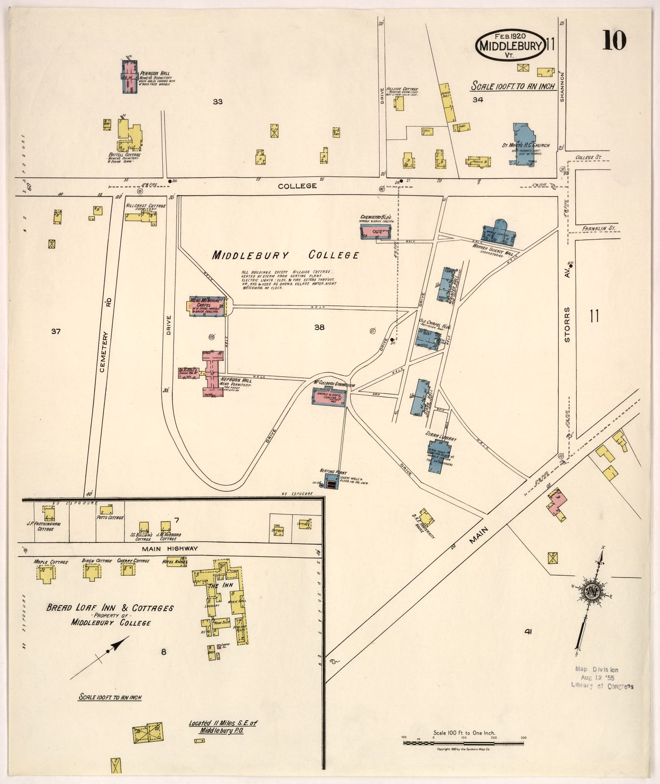 Sanborn Fire Insurance Map from Middlebury, Addison County, Vermont ...