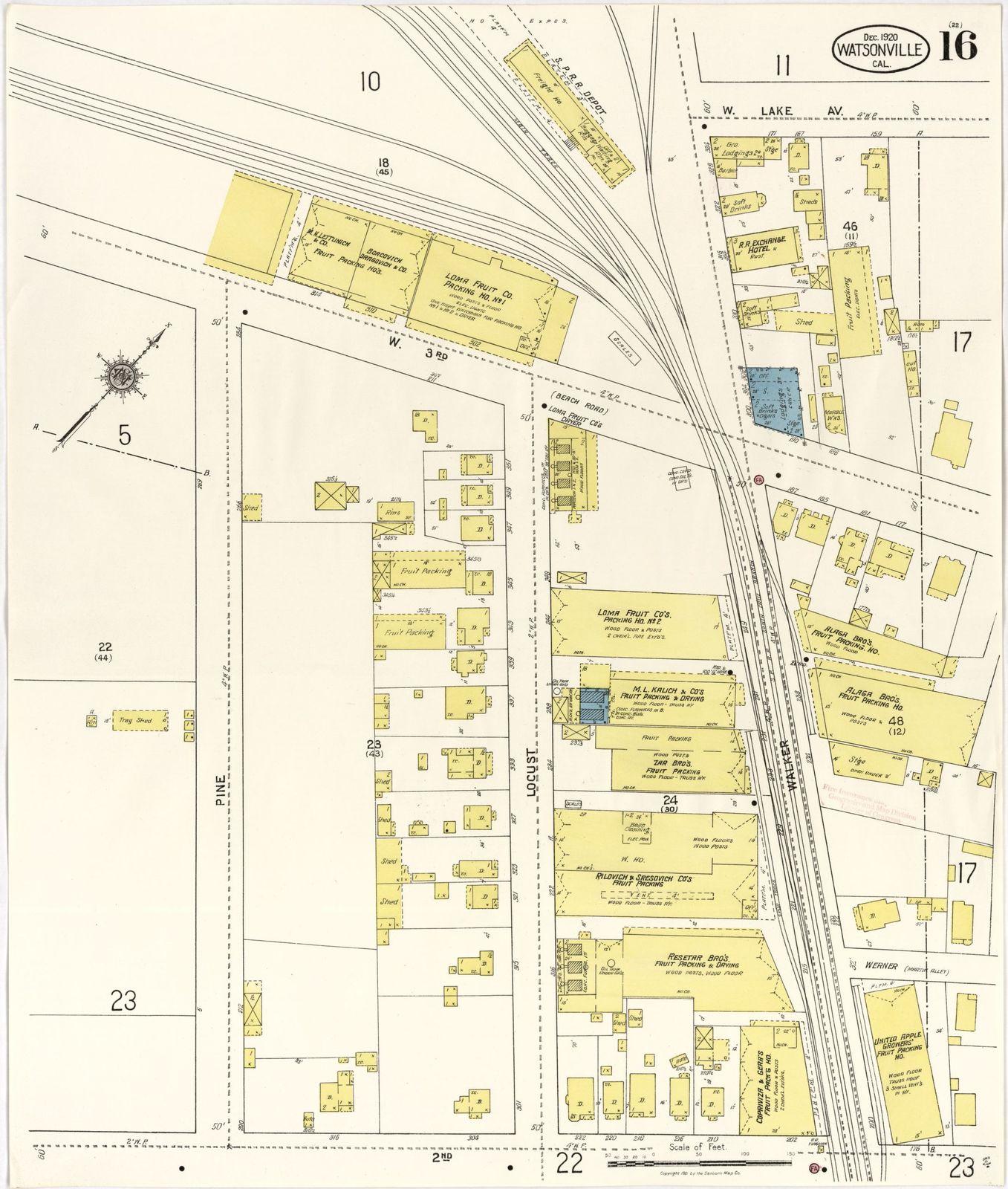 Sanborn Fire Insurance Map From Watsonville Santa Cruz County