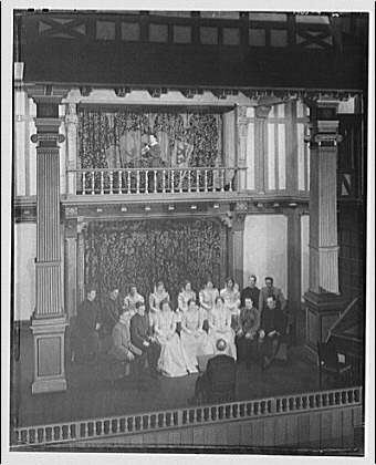 Shakespearean players. Group on actors on stage IV